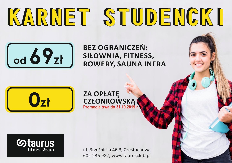 Karnet Studencki  bez opłaty!